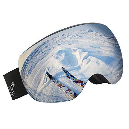Unigear OTG Ski Goggles, Over Glasses Snowboard Snow Spherical Anti-fog Goggles for Men & Women with Interchangeable lens and 100% UV400 Protection, Portable Box - Snow Glasses