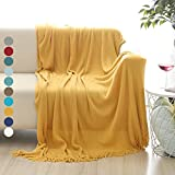 ALPHA HOME Soft Throw Blanket Warm & Cozy for Couch Sofa Bed Beach Travel - 50 x 60, Gold Larger Image