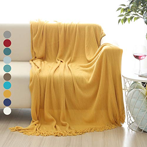 "ALPHA HOME Soft Throw Blanket Warm & Cozy for Couch Sofa Bed Beach Travel - 50"" x 60"", Gold"