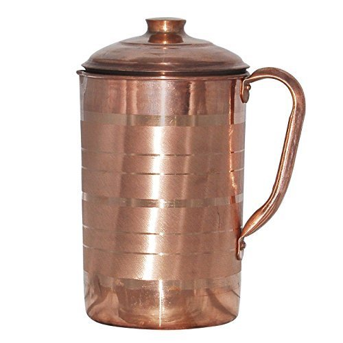 Dutch Jug (Prisha India Craft Best Quality Pure Copper Jug Water Pitcher Handmade Indian Copper Utensils for Ayurveda Healing Capacity 1.8 L)