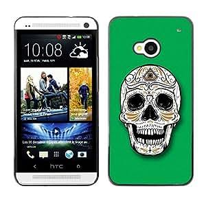 Caucho caso de Shell duro de la cubierta de accesorios de protección BY RAYDREAMMM - HTC One M7 - Sugar Skull Illuminati