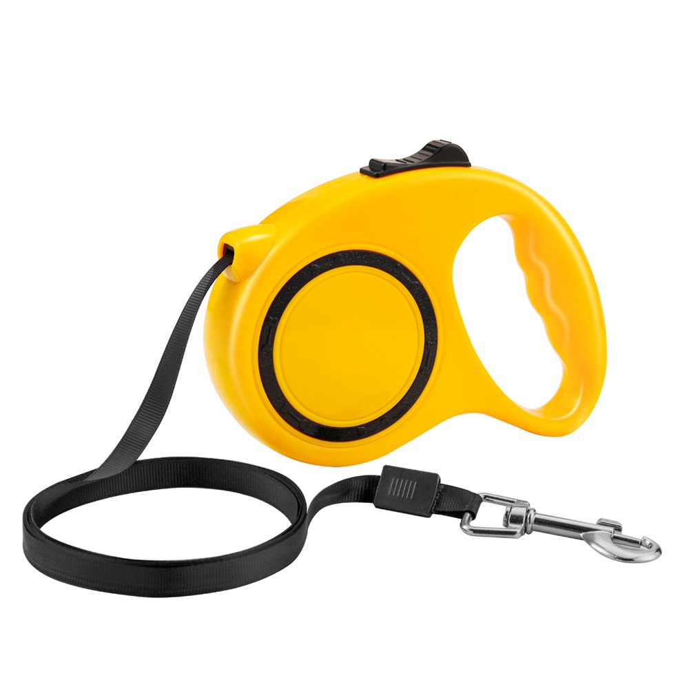 Namay Retractable Nylon Dog Leash with One Button to Lock on and off, Ideal for Medium and Large Dogs(Yellow)
