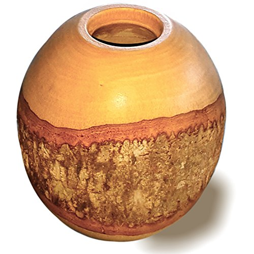 RoRo Hand-crafted Sustainable Mango Wood 7 in Vase with Partial Bark Covering - Eco Friendly Vases