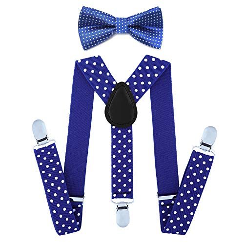 AWAYTR Child Kids Suspenders Bowtie Set - Adjustable Suspender Set for Boys and Girls(25Inches (5 Months to 6 Years ),Dark Blue Polka dot)