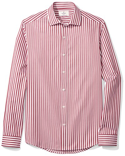 Shirt Stripe Dress (BUTTONED DOWN Men's Fitted Supima Cotton Spread-Collar Dress Casual Shirt, Burgundy/White Large Bengal Stripe, L 34/35)
