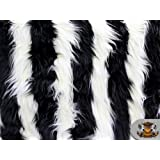"Faux Fur Long Pile 2 TONE SHAGGY STRIPE BLACK WHITE Fabric / 60"" Wide / Sold by the Yard"