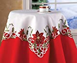 Collections Etc Embroidered Christmas Poinsettia Table Linens, Square