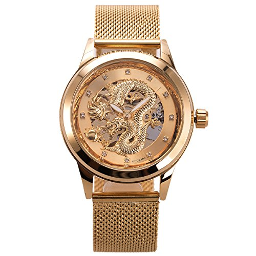 Analog Mechanical Casual Watch - Mens Automatic Skeleton Mechanical Watch - ManChDa Mesh Band Luxury Business Casual Stainless Steel Analog Watch Golden