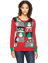 Ugly Christmas Sweater Women's Xmas Patchwork Cardigan