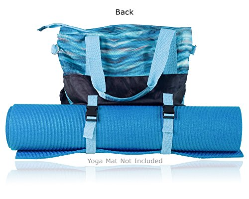 GRS Products Small Yoga Bags, Yoga Mat Bag or Yoga Tote Bag has Many Pockets with Inside Padded Tablet Compartment (Aqua)