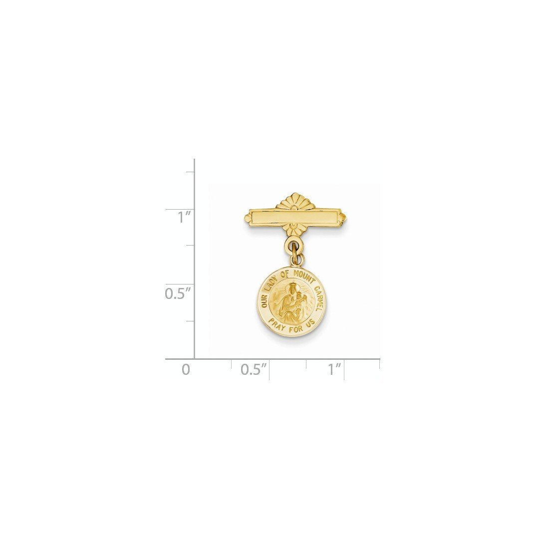ICE CARATS 14k Yellow Gold Our Lady Of Mount Carmel Medal Pendant Charm Necklace Pin Religious Mt Fine Jewelry Gift Set For Women Heart by ICE CARATS (Image #3)