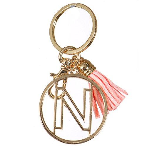 Crown Alphabet Initial Letter Keychain, Key Ring, Bag Charm w/ Tassel (N-Gold)
