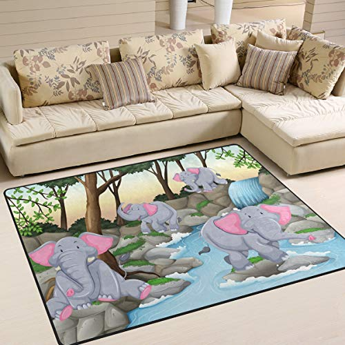 Four Elephants Waterfall Area Rug 5'3'' x 4' Carpet Indoor Polyester Non Slip Multi Rectangle Door Mats Kitchen Floor Runner Decoration for Home Bedroom Living Dining Room