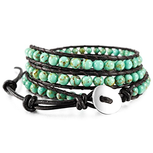 INBLUE Men,Women's Alloy Genuine Leather Bracelet Bangle Cuff Rope Simulated Turquoise Green Bead 3 Wrap Adjustable