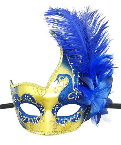 - Women's Feather Masquerade Mask Venetian Halloween Mardi Gras Costumes Party Ball Prom Mask (ZA Royal Blue)
