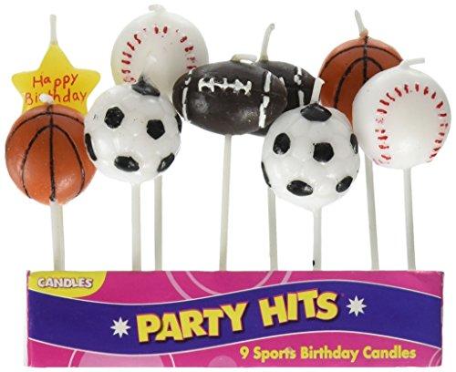 Oasis Supply 9-Piece Sports Balls Cupcake Cake Decorating Candles Set -