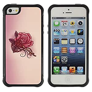 LASTONE PHONE CASE / Suave Silicona Caso Carcasa de Caucho Funda para Apple Iphone 5 / 5S / Key Tattoo Red Ink Drawing Art