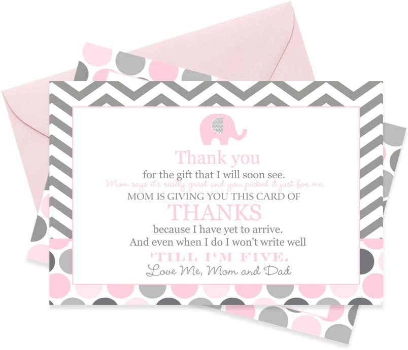 Pink Elephant Baby Shower Thank You Cards and Envelopes 15 Pack Little Peanut Theme