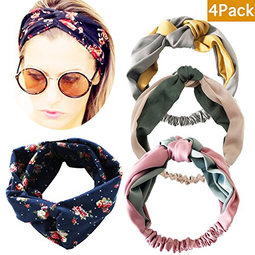 - M-FIT 4 Pack Premium Silk Floral Head Wrap, Vintage Elastic Printed Boho Hair Band, Fashion Stretchy Twisted Knot Headband for Girls and Women(4pc-Bohemia)