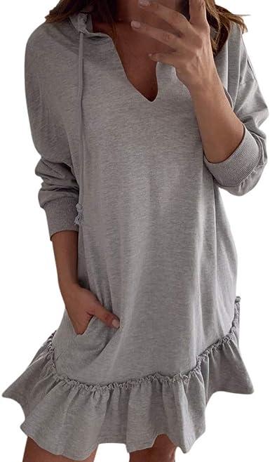 Risthy Vestidos Verano Mujer Tallas Grandes Vestidos Camisetas Color Solido Cuello Redondo Mangas Cortas Faldas Casual Original Midi Vestido Con Bolsillos Amazon Es Ropa Y Accesorios