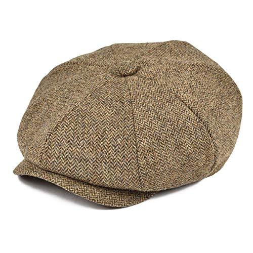BOTVELA Men's Premium Wool Classic Flat Ivy Newsboy Cap Herringbone Pattern Flecked Hat (Herringbone Khaki, Medium)