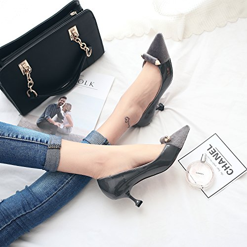 Fine Shallow A Point Work Mouth Elegant Cat With 36 Heels Gray With Shoes Shoes Lady Leisure MDRW The High Elegant All Match Spring 5Cm O6xfP