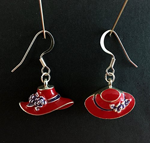 Adorable Vintage Enamel - Red Hat Society Enamel Earrings, Red Hat Purple Flower Earrings, Vintage Collectibles, Vintage Red Hat Earrings, Red Enamel Hat Earrings, Adorable Red Hat Earrings, Authentic Red Hat Earrings