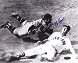 Yogi Berra Autographed/Signed New York Yankees Black and White 8x10 Photo - with Ted Williams