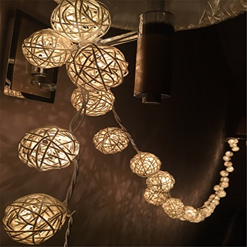 COTW Handmade Rattan Balls Led Light 8 Remote Control Battery Power Source Romantic Decorative Led String Lights Indoor for House Bedroom Holiday Celebrations Weddings Parties Festivals-Cream White ()