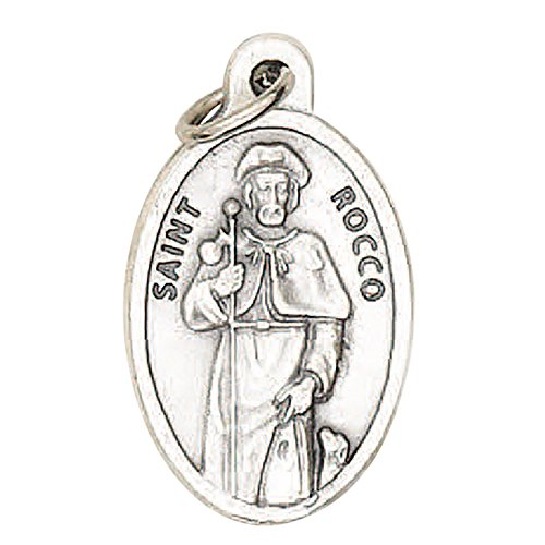 Saint Rocco Roch Medal Blessed By Pope Francis Medal Silver Oxidized Patron of Those with a Contagious Disease from Gifts by Lulee, LLC