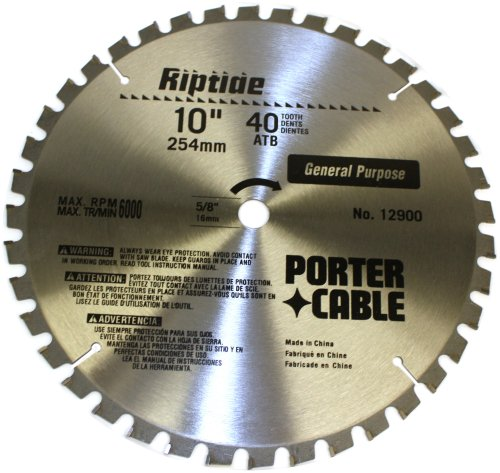 PORTER-CABLE 12900 Riptide 10-Inch 40 Tooth ATB Thin Kerf General Purpose Miter Saw Blade with 5/8-Inch Arbor