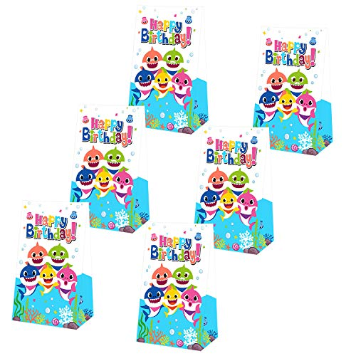 Yamatch 24 Pack Baby Little Shark Party Bags-Shark Baby Treat Bags Gifts Bags- Baby Cute Shark Themed Birthday PartySupplies Decorations- Perfect for kids little Shark Treatment(shark balloons, hanging swirls, cake toppers) ()