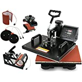 """Super Deal Pro 5 in 1 Multifunction Combo Heat Press Machine, 12"""" x 15"""" Transfer Sublimation T-Shirt Mug Hat Plate Cap Mouse Pad Black (5 in 1)"""