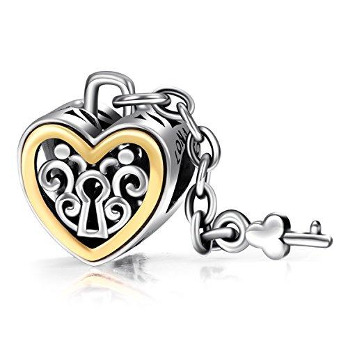 LONAGO I Love You Lock Key Charm Chain 925 Sterling Silver Heart Shape Yellow Enamel Bead Gift for Wife Girlfriend (Silver 925 Lock)