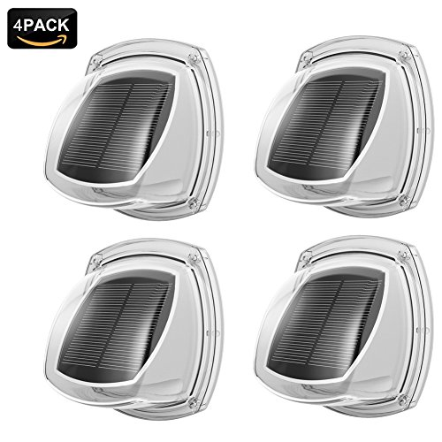 NOPTEG Solar Wall Lights Outdoor, Solar White Led Waterproof Lighting for Deck, Fence, Patio, Front Door, Stair, Landscape, Yard and Driveway Path, Pack of 4