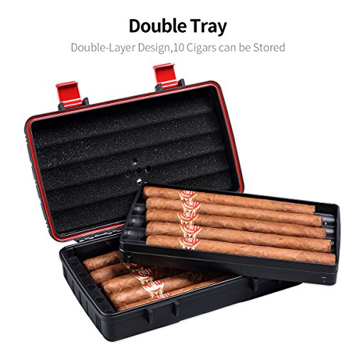 Cigar Travel Case Double Layer Accommodates 10 Cigars Portable Box(Color:Red) … by CIGARLOONG (Image #1)
