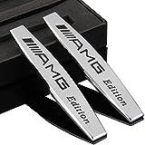 2stk Métal Voiture Inscription autocollants pour Mercedes-Benz AMG Garde-boue Argenté emblème chrome argenté Plaque Autocollant pour voiture 3D Sports Car Metal Decal Sticker Badge