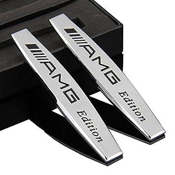 2 Stück Auto Aufkleber Beschriftung Für Mercedes Benz Amg Metall Silbrig Chrome 3d Aufkleber Auto Aufkleber Emblem Silber Sport Auto Metall Aufkleber