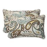 Pillow Perfect Outdoor Tamara Paisley Quartz Rectangular Throw Pillow, Set of 2