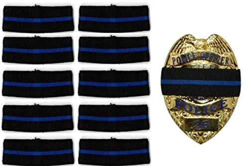 """10-PACK Thin Blue Line Stripe Black Police Officer Badge Shield Funeral Honor Guard Mourning Band Strap 1/2"""" by HP"""