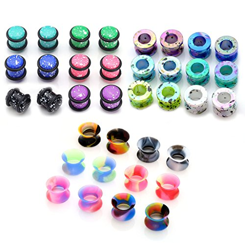 PiercingJ 36pcs Candy Colors Spots Acrylic Ear Stretching Plugs Kit and Double-flared Thin Silicone Saddle Tunnels Set