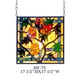 HF-75 17.5'' Tiffany Style Stained Glass Pastoral Floral Square Window Round Hanging Sun Catcher