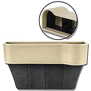 Update Version Auto Front Seat Organizer Console Side Pocket, Leather, Beige with Hole for USB Cable, Car Drinks Cup Cell Phone Card Wallet Sunglasses Holder