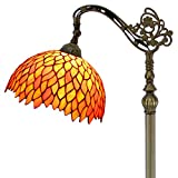 Tiffany Style Reading Floor Lamp Red Wisteria Table Desk Lighting H64 Inch E26 Stained Glass Lampshade for Living Room Antique Desk Beside Bedroom S523R WERFACTORY