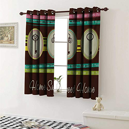 (shenglv Home Sweet Home Customized Curtains Colorful Stripes with Quote Words Three Antique Keys in Circular Frames Curtains for Kitchen Windows W63 x L45 Inch Multicolor)