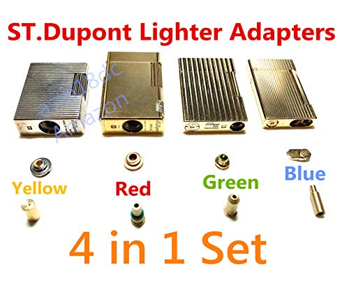 ASW Gas Refill Adapters Compatible with ST Dupont Lighter 4 in 1 Yellow/Red/Green/Blue ()
