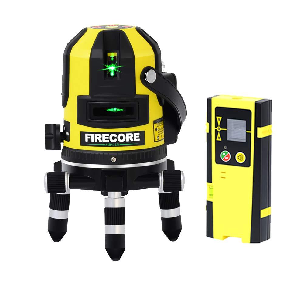 Firecore FIR411G Syst/ème de nivellement automatique 50 m ext/érieur 5 Ligne Niveau laser et point dAplomb avec d/étecteur Vert