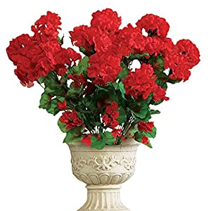 Collections Etc Artificial Geranium Floral Bush, Set of 3 - Maintenance Free Artificial Flowers for Indoor or Outdoor Display, Use 3 Bouquets Separately or Combine All 3 5