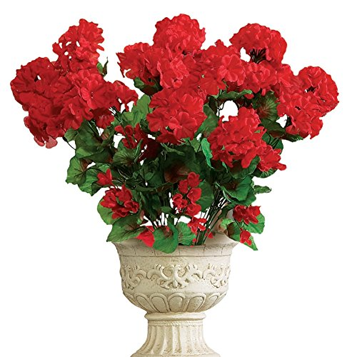 Collections Etc Artificial Geranium Floral Bush, Set of 3 - Maintenance Free Artificial Flowers for Indoor or Outdoor Display, Use 3 Bouquets Separately or Combine All 3, Red