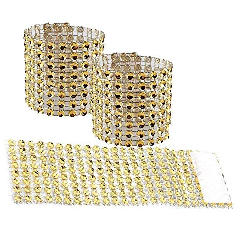 (MARGUERAS 100pcs Rhinestone Napkin Rings Wedding Adornment, Napkin Holder for DIY Party Banquet Birthday (Gold))